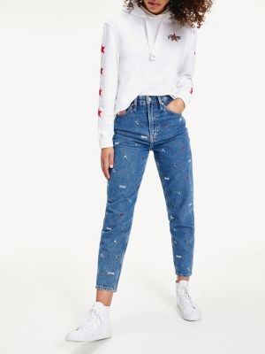 Tommy Hilfiger Recycled Embroidery High Rise Mom Jeans