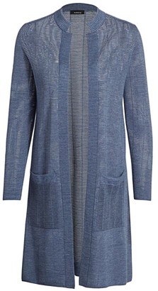 Akris Sheer Horizontal Stripe Wool & Silk Knit Cardigan
