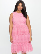 ELOQUII Plus Size Studio Layered Circular Eyelet Dress