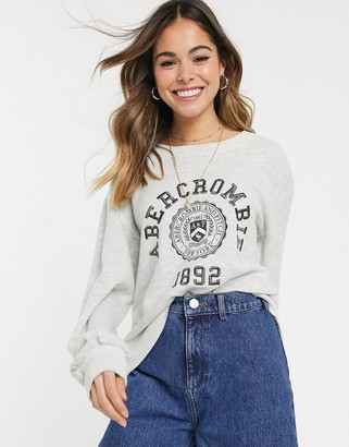 Abercrombie & Fitch logo sweatshirt with puff sleeve-Grey