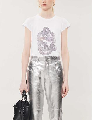 Zadig & Voltaire Skinny embellished cotton-blend T-shirt
