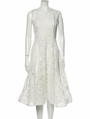 Alexis Lace Pattern Midi Length Dress White