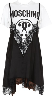 Moschino Double Question Mark Lace Layered T-Shirt Dress