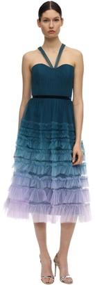 Marchesa Notte Tiered Gradient Tulle Midi Dress