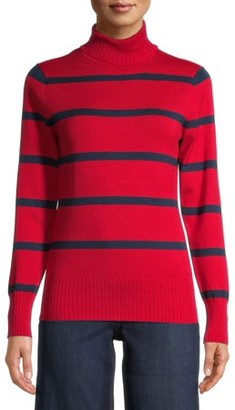Time and Tru Women's Striped Turtleneck Sweater