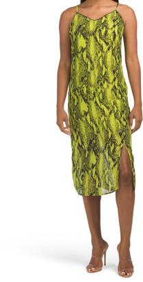 Juniors Neon Snakeskin Print Slip Dress