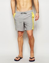 Asos Mid Length Swim Shorts In Gray With Color Block Detail