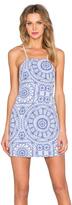 Donna Mizani Medallion Square Neck Flounce Dress