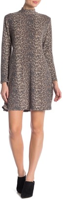 Como Vintage Leopard Print Mock Neck Dress