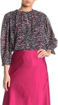 Rebecca Minkoff Billie Floral 3/4 Length Sleeve Keyhole Top