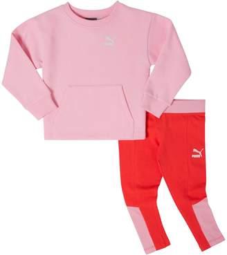 Infant + Toddler Fleece Crew Pullover + Cotton Spandex Leggings Set