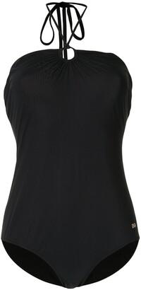 Dolce & Gabbana Logo Plaque Halterneck Swimsuit