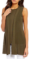 Eileen Fisher Shawl Collar Open Front Ribbed Oval Vest