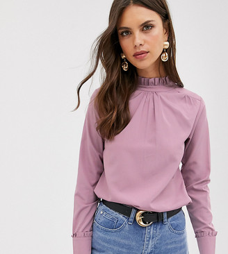 Verona high neck long sleeve top in dusty rose-Pink