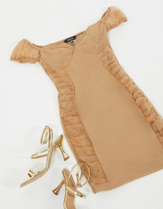 NaaNaa mini dress with mesh puff sleeves in taupe