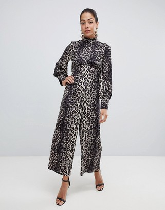 ASOS Design Jumpsuit with high neck and blouson sleeve in animal print