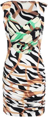 Roberto Cavalli Wrap-effect Ruched Printed Stretch-jersey Mini Dress