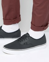 Vans Authentic Premium Leather Trainers In Black