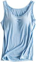 Foxexy Womens Modal Strap Built-in Bra Padded Active Camisole Tank Top US 10-12