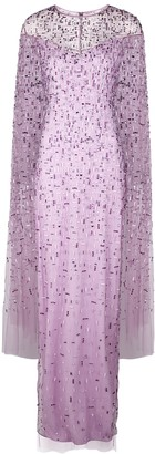 Pamella Roland Lilac embellished cape-effect tulle gown