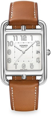 Hermes Cape Cod 33MM Stainless Steel & Leather Strap Watch
