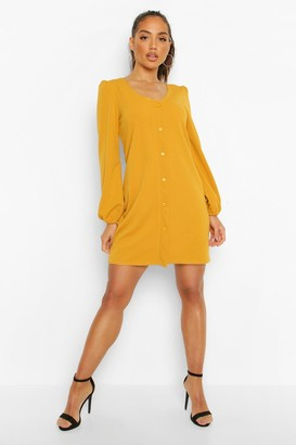 boohoo Mock Horn Button Crepe Shift Dress