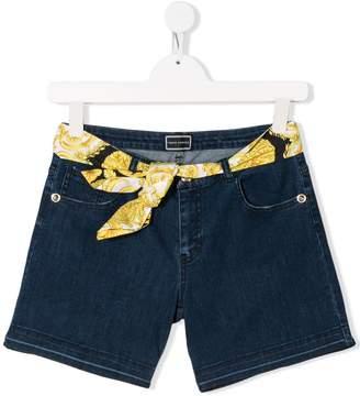 Versace TEEN scarf-belt denim shorts