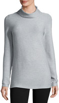 Neiman Marcus Ribbed Turtleneck Sweater, Light Heather Gray