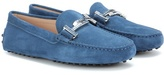 Tod's Gommini Double T Crystal-embellished Suede Loafers