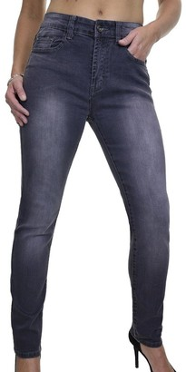 Ice Women's Slim Denim Jeans Ladies Casual Mid Rise Faded Leg Stretch Jeans Grey 10-18 (18)