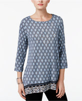 JM Collection Geo-Print Handkerchief-Hem Tunic, Only at Macy's