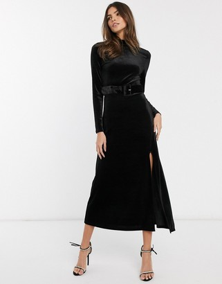And other stories & covered buckle velvet midaxi dress in black