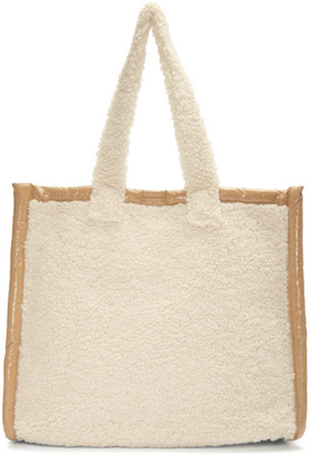 Stand Studio Off-White Faux-Shearling Large Lola Tote