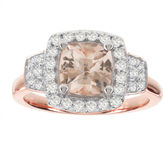 JCPenney MODERN BRIDE Blooming Bridal Genuine Cushion-Cut Morganite and Diamond 14K Rose Gold Ring