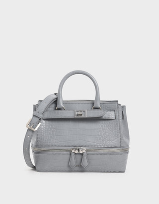 Charles & Keith Croc-Effect Two-Way Zip Structured Bag
