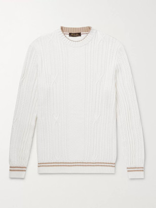 Loro Piana Slim-Fit Striped Cable-Knit Cotton and Cashmere-Blend Sweater - Men - White