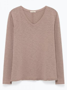 American Vintage Sonoma Long Sleeve T Shirt - M / Muscade Vintage/Vintage Nutmeg - Grey/White