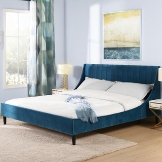 Brayden Studioâ® Woodvale Upholstered Platform Bed Brayden StudioA Color: Satin Teal, Size: King