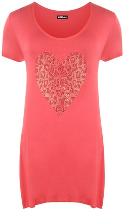Wearall Womens Plus Size Gold Animal Heart Hanky Hem Ladies Short Sleeve Long Top - Black - 14