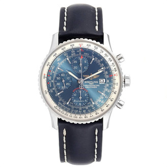 Breitling Blue Leather and Stainless Steel Navitimer A13324 Men's Wristwatch 42MM