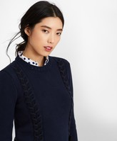 Brooks Brothers Grosgrain-Trimmed Supima Cotton Cable-Knit Sweater