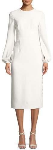 Jill Stuart Krystal Crepe Slit-Sleeve Midi Cocktail Dress