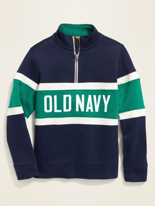 Old Navy Color-Blocked Logo-Graphic 1/4-Zip Pullover for Boys