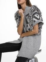 White + Warren Alpaca Fairisle Fringe Vest