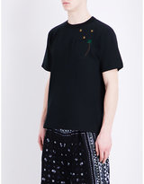 Sacai Palm Tree-embroidered Cotton T-shirt