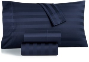 """Charter Club Damask 1.5"""" Stripe Full 4-Pc Sheet Set, 550 Thread Count 100% Supima Cotton, Created for Macy's Bedding"""