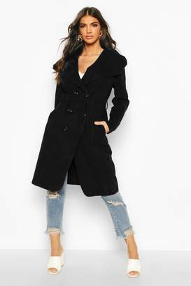 boohoo Waterfall Double Breasted Belted Coat