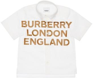 Burberry Logo Print Cotton Poplin Shirt