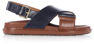 Marni Fussbett Smooth Leather Sandals - Navy Multi