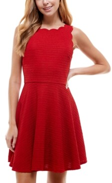 City Studios Juniors' Scalloped Fit & Flare Dress
